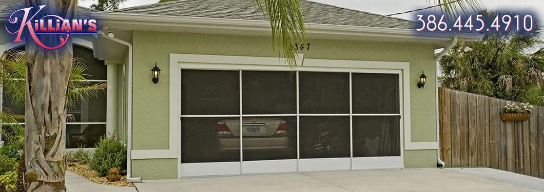 Garage Door Screens Sliding : Sliding garage door screens from killian s of palm coast fl